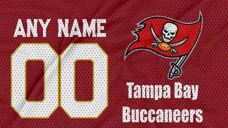 tampa bay buccaneers jersey texture logo mockup