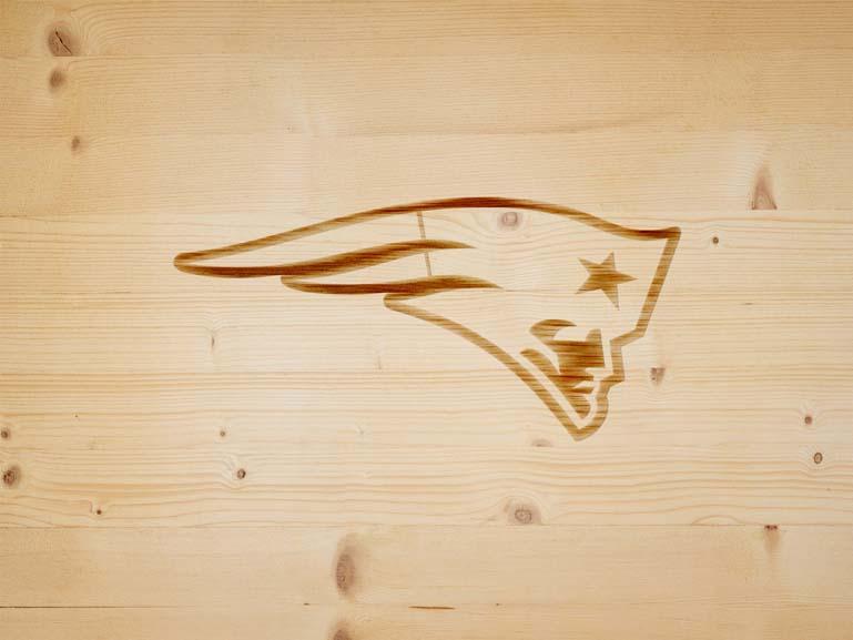 new england patriots branding iron on wood