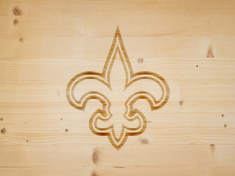 new orleans saints branding iron on wood