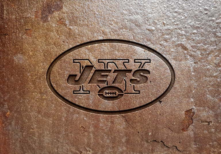 New York Jets Rusted metal text effect Mockup