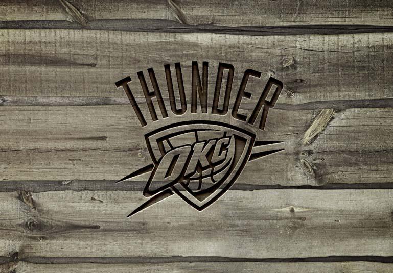 Oklahoma City Thunder Carved wood text effect mockup