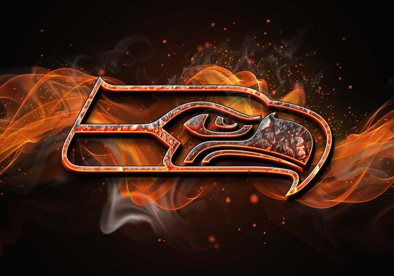 seattle seahawks burn fire effect orange