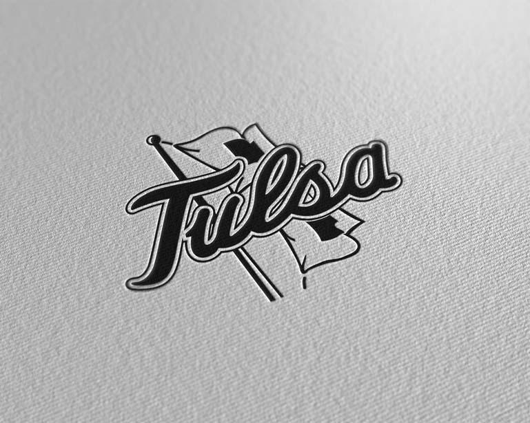 tulsa golden hurricane paper pressed logo